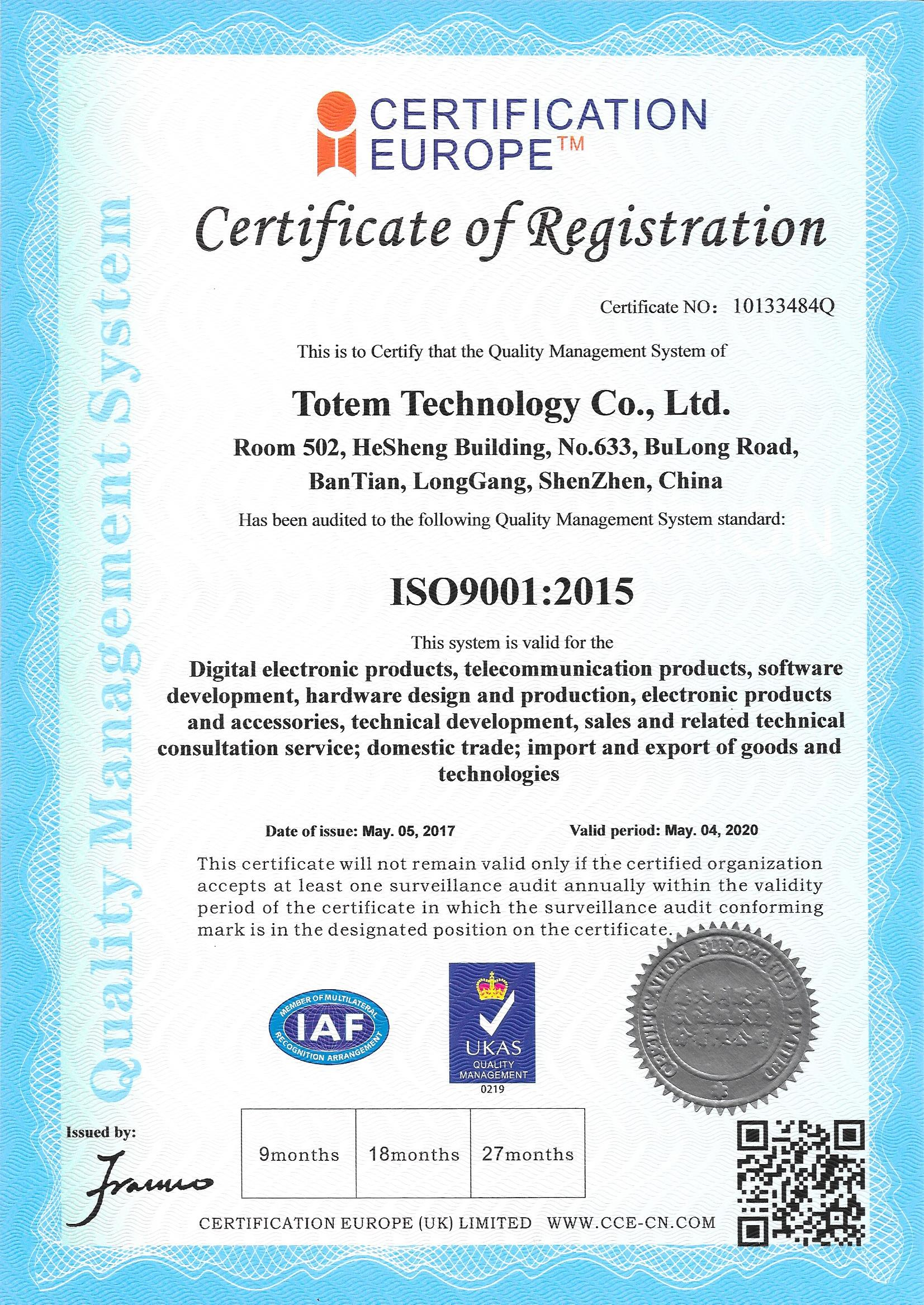 totem technology ISO9001:2015 certified